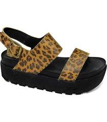 sandalia de cuero animal print tamara shoes