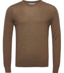 flemming crew neck 3111 stickad tröja m. rund krage brun samsøe samsøe