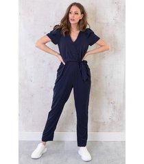 zijden jumpsuit exclusive marineblauw