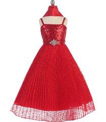 red girl dress sequins bodice lace pleated skirt rhinestones brooch waistline