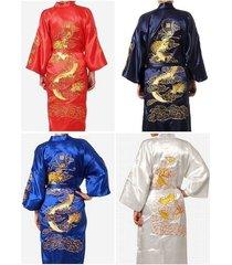 hot man's embroidery dragon satin kimono robe gown bathrobe sleepwear **
