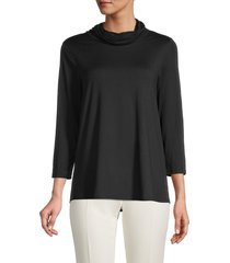 bobeau women's face mask cowlneck top - black - size m