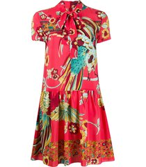 redvalentino birds on paradise in the forest mini dress