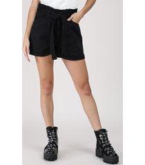 short de sarja feminino clochard cintura alta com faixa para amarrar preto