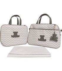 kit bolsa maternidade chevron cinza urso alinhado baby - 03 peças