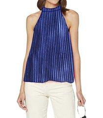 blusa cuello halter plisada azul by brasil soo glam