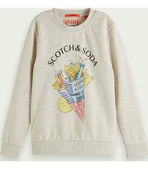 scotch & soda cotton sweater with fish and chips artwork