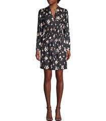 daniella long-sleeve floral silk-blend dress