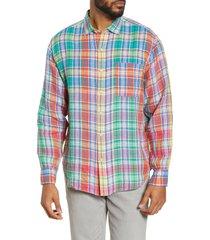 men's tommy bahama mahal madras plaid linen button-up shirt