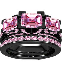 14k black gold over pink sapphire bridal ring engagement set