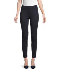 saks fifth avenue women's seamed ponte ankle pants - black white - size xl