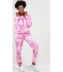 conjunto con capucha tie dye rosa night concept
