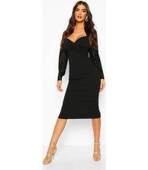 plisse pleated sleeve wrap detail midi dress, black