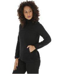 blusa de frio fleece nord outdoor bicolor - feminina - preto