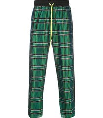 amiri silk plaid track pants - green