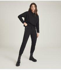 reiss arden - loungewear hoodie with zip detail in black, womens, size l