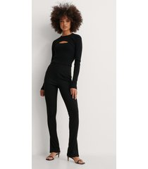 na-kd trend tvådelad stickad tröja - black