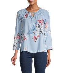stellah women's floral-print blouse - sky - size l