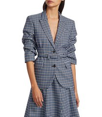michael kors women's crushed-sleeve fitted plaid blazer - midnight - size 10