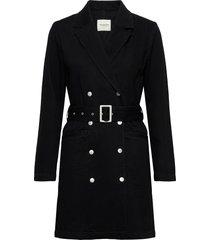 slfdora ls blazer black denim dress w kort klänning svart selected femme