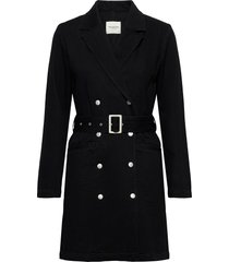 slfdora ls blazer black denim dress w tunn rock svart selected femme