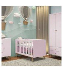 quarto bebê ludi retrô berço cômoda e roupeiro gráo de gente rosa