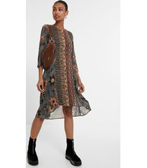 boho friezes dress - brown - xxl