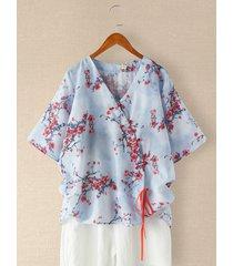 camicetta con coulisse con bottoni a forma di scollo a v a mezza manica con stampa floreale vintage