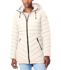 bernardo bernado packable ecoplume(tm) hooded walker coat, size x-small in alabaster at nordstrom