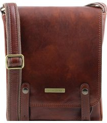 tuscany leather tl141406 roby - borsello da uomo in pelle con fibbie marrone