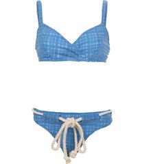 lisa marie fernandez yasmin drawstring bikini set - blue