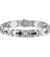 "men's 3/4 carat black diamond link 8 1/2"" bracelet in sterling silver and 10k yellow gold"
