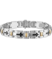 "men's 3/4 carat black diamond link 8 1/2"" bracelet in sterling silver and 10k yellow gold"