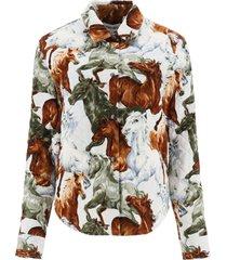 kenzo kenzo horses corduroy shirt