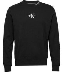center monogram crew neck sweat-shirt trui zwart calvin klein jeans