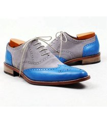 handmade oxford dress formal shoes, blue gray party casual leather suede shoes