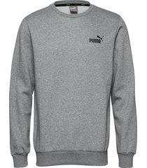 ess logo crew sweat fl sweat-shirt tröja grå puma