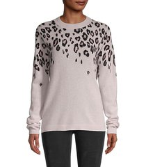 cascading leopard-print cashmere sweater