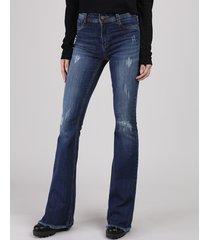 calça jeans feminina sawary flare cintura alta com puídos azul escuro