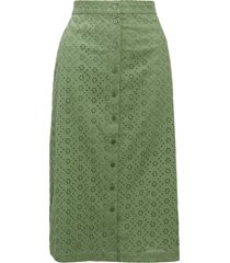 women's rachel parcell front button eyelet skirt, size small - green (nordstrom exclusive)