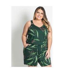 macaquinho plus size estampado secret glam verde