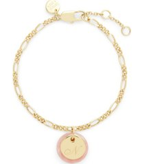 brook & york 14k gold plated chelsea initial charm bracelet