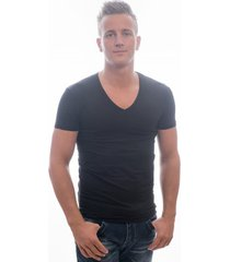 garage t-shirt deep v-neck bodyfit black ( art 0206)
