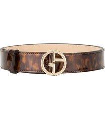 giorgio armani tortoiseshell-effect patent belt - brown