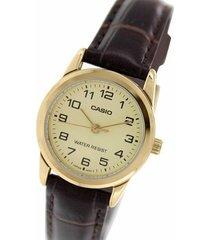 reloj casio para dama ltp-v001gl-9b con números pulso en cuero