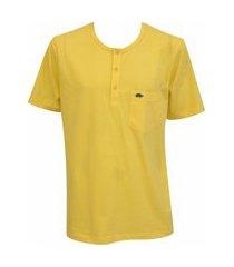 camiseta pau a pique botões amarelo