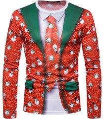 camiseta de navidad para hombre falso de dos piezas de cuello redondo de