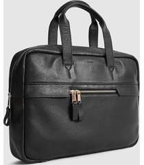 reiss lindberg - pebbled leather briefcase in black, mens