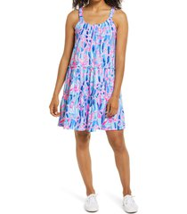 women's lilly pulitzer loro tiered shift dress, size xx-large - blue