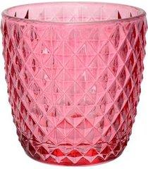 porta vela diamond em vidro l'hermitage rosa